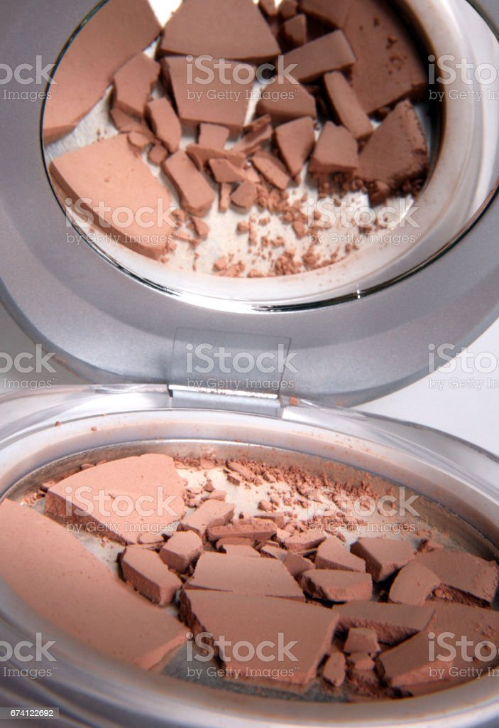 Powder and mirror on a white background 免版稅 stock photo