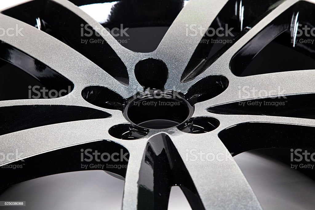 Powder coating of black wheel disk stock photo