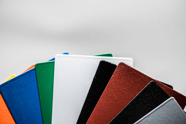 Powder coatings samples on metal plate Powder coatings samples on metal plate colored powder stock pictures, royalty-free photos & images
