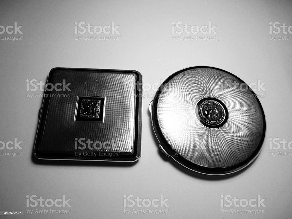 powder compact with jade sterling silver luxury wealth success stock photo