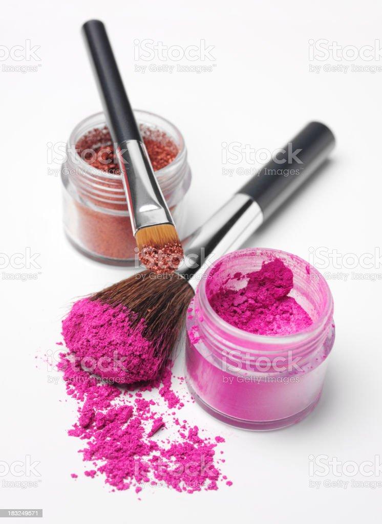 Powder Eyshadow and Makeup Brushes royalty-free stock photo