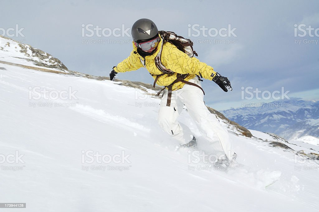 powder freeride snowboarding royalty-free stock photo