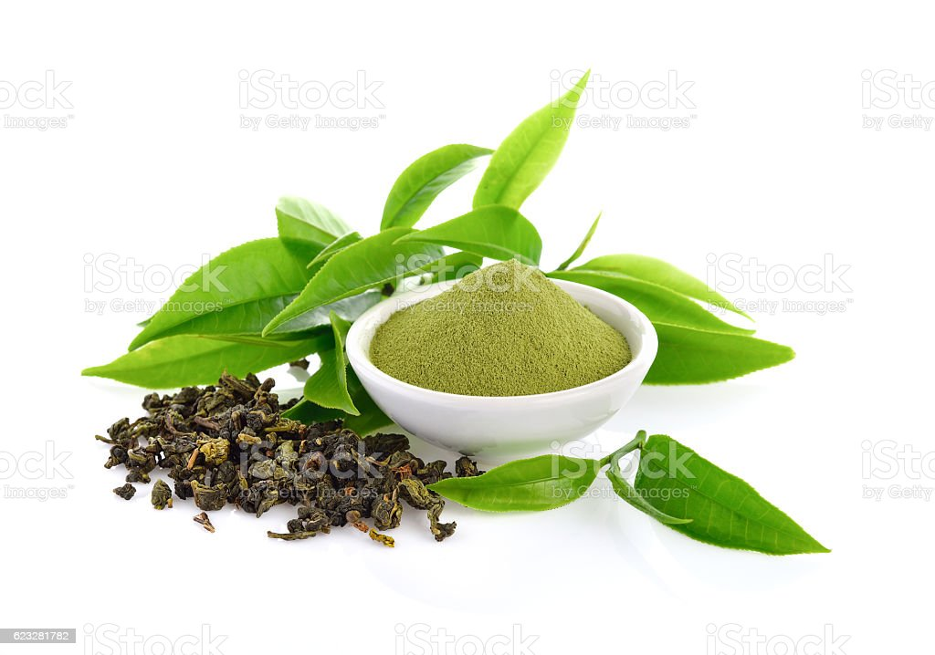 powder green tea and leaf  on white stock photo