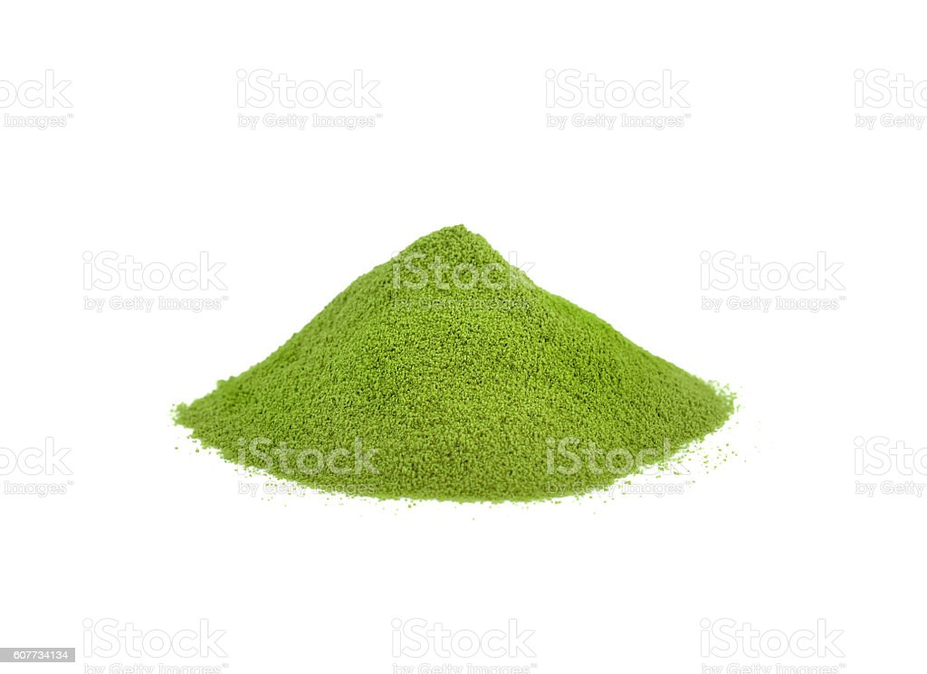 powder green tea isolated on white background​​​ foto