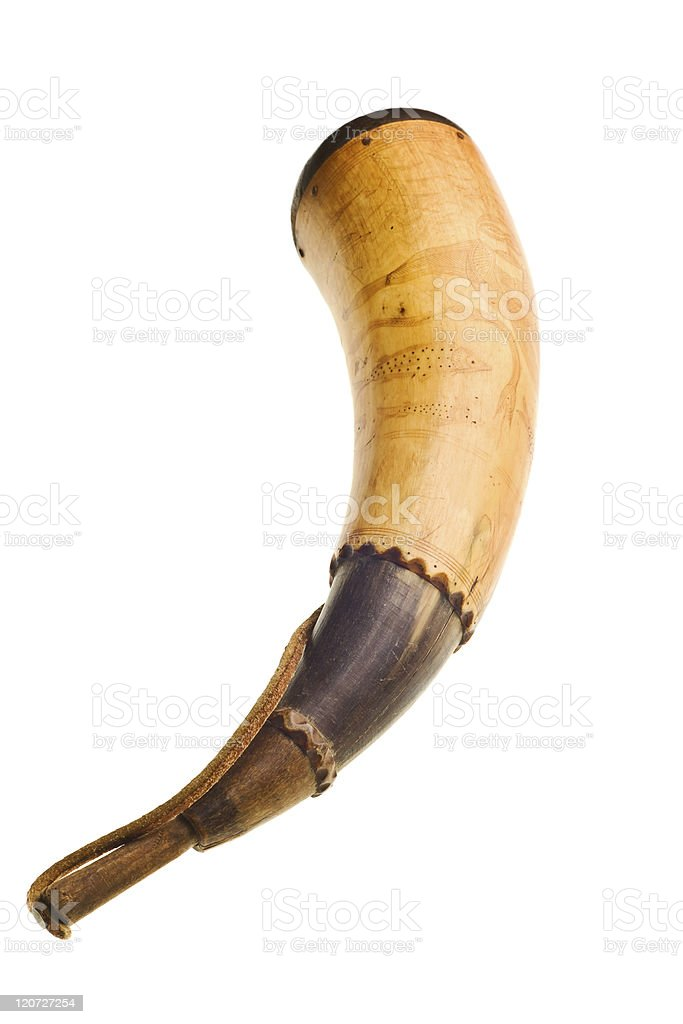 powder horn isolated stock photo