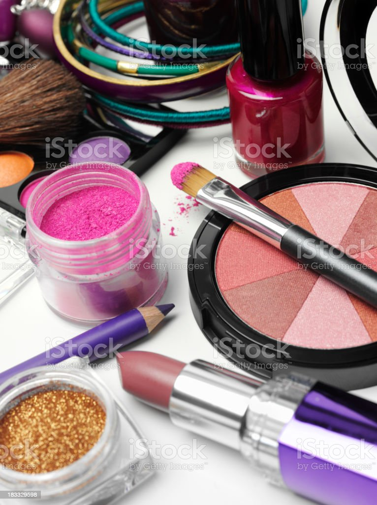 Powder Make-Up and Lipstick stock photo