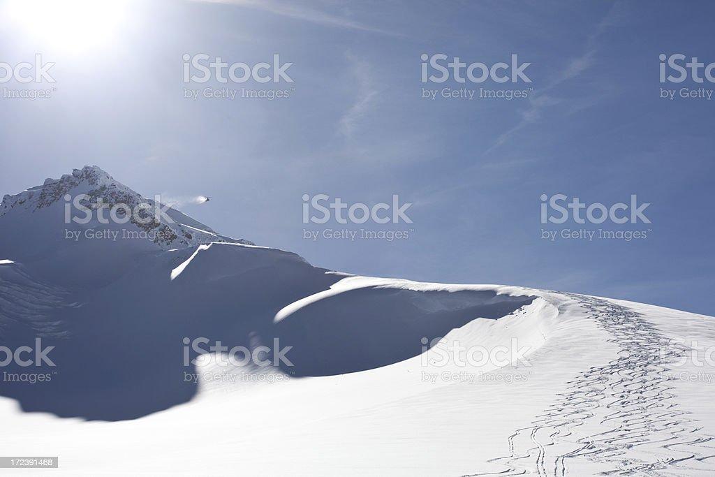 Powder Ski Tracks on Glacier royalty-free stock photo
