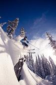 Powder skiing at ski resort.