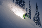 Heli skiing in deep powder.
