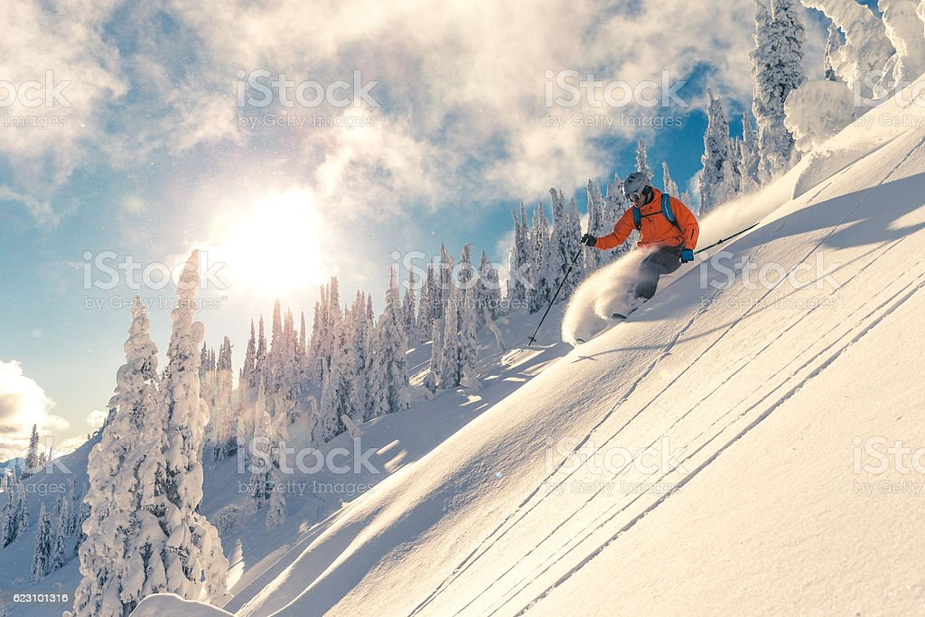 Powder skiing stock photo