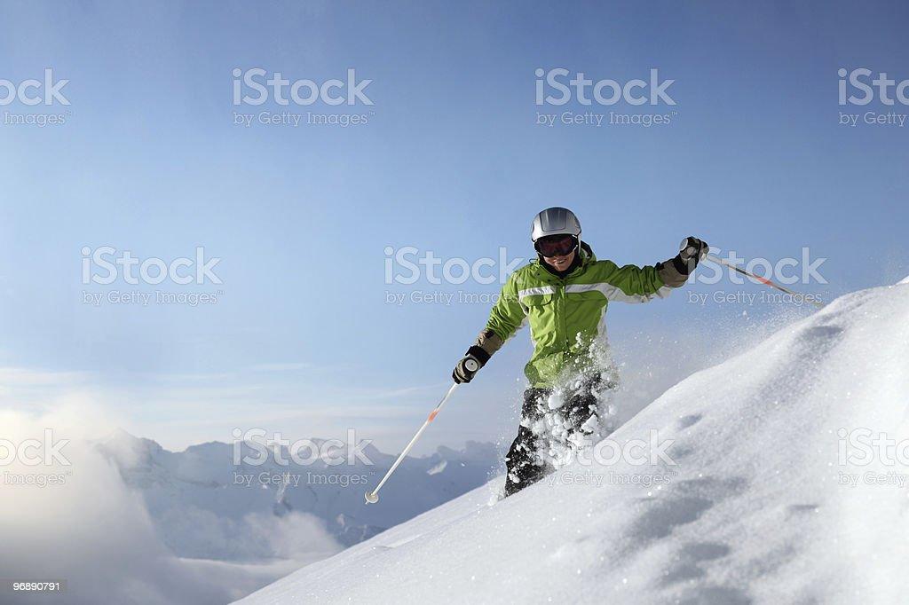 Powder Snow with Mountains stock photo