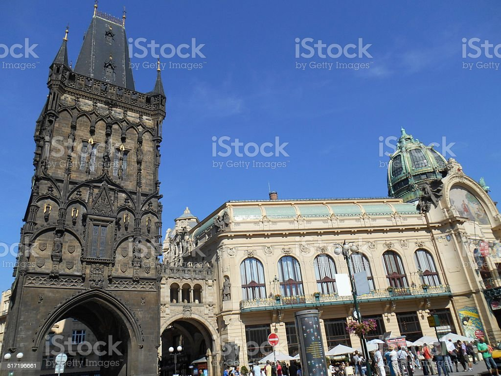 Powder Tower and Municipal Hall in Prague stock photo