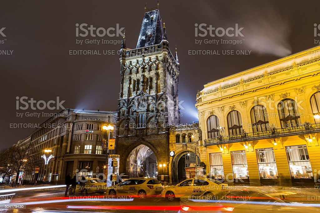 Powder Tower and Municipal House in Prague at Night stock photo