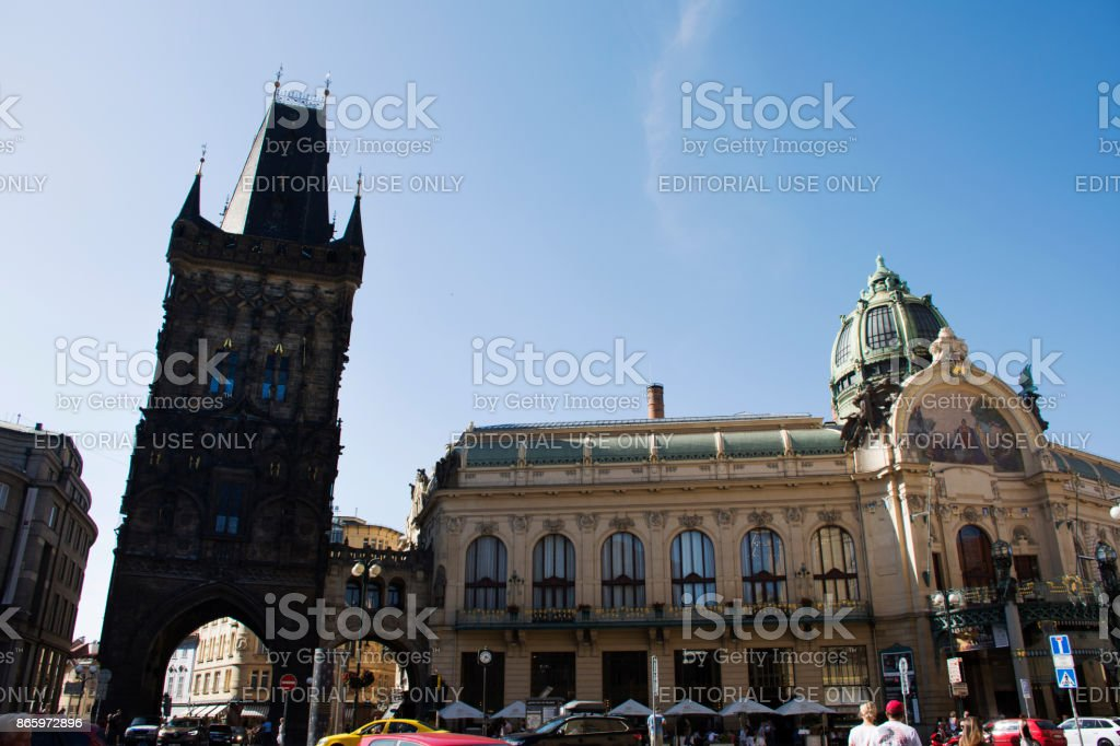 Powder Tower (prasna brana) and Municipal House (obecni dum) in Prague, Czech Republic. stock photo