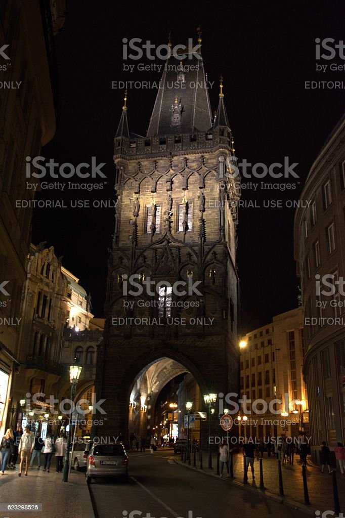 Powder Tower by night, Prague, Czech Republic stock photo