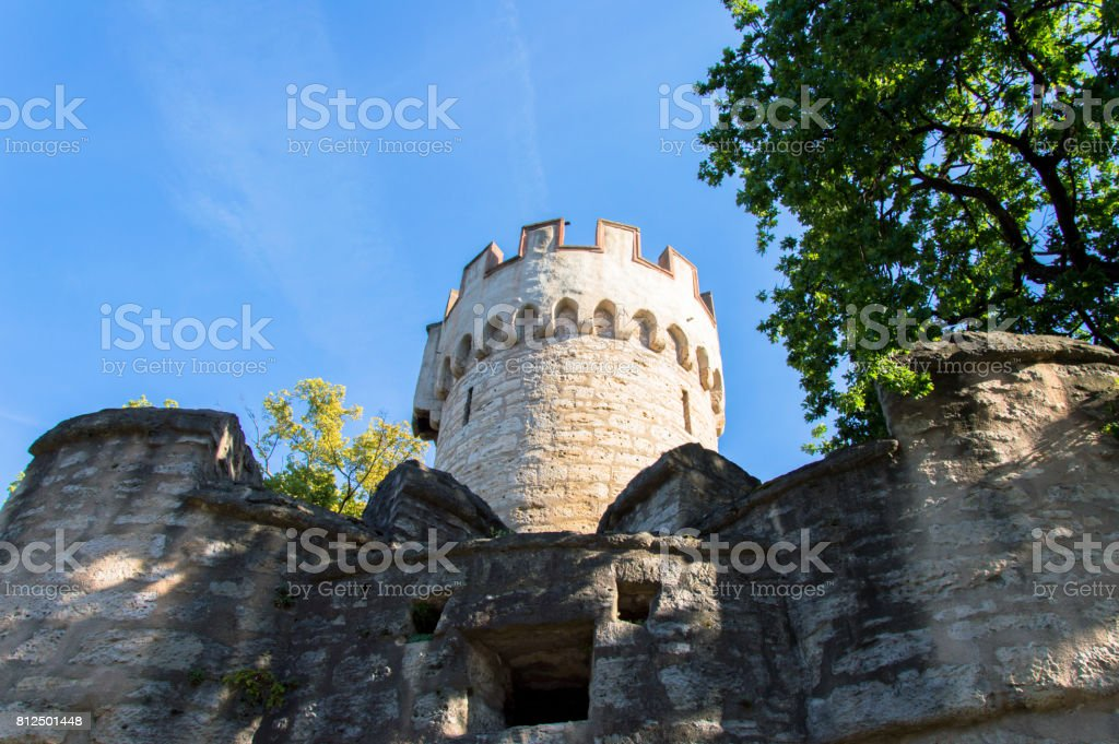 Powder Tower of old fortified wall in German city Jena, Germany stock photo