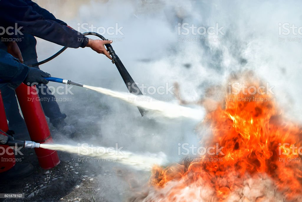 Powder type Fire Extinguishing stock photo