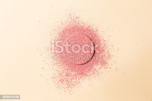 859783634 istock photo Powdered blush on a sponge on double background of pink and beige 839849266