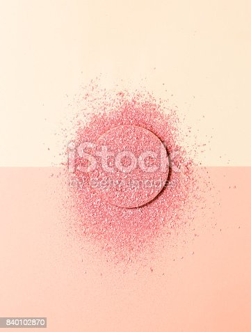 859783634 istock photo Powdered blush on a sponge on double background of pink and beige 840102870