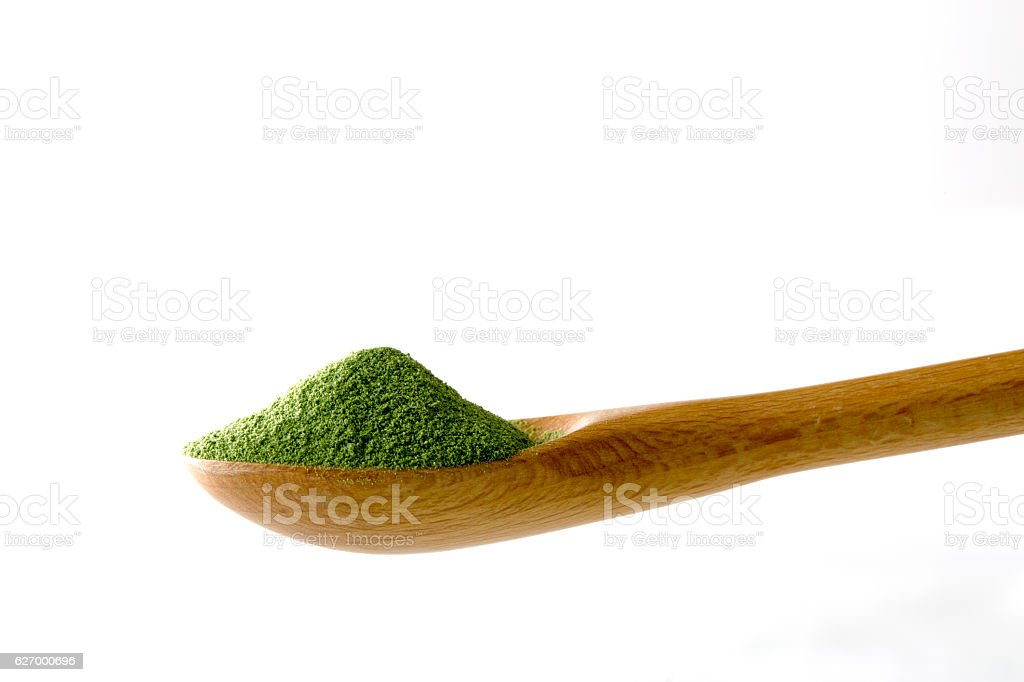 Powdered green juice stock photo