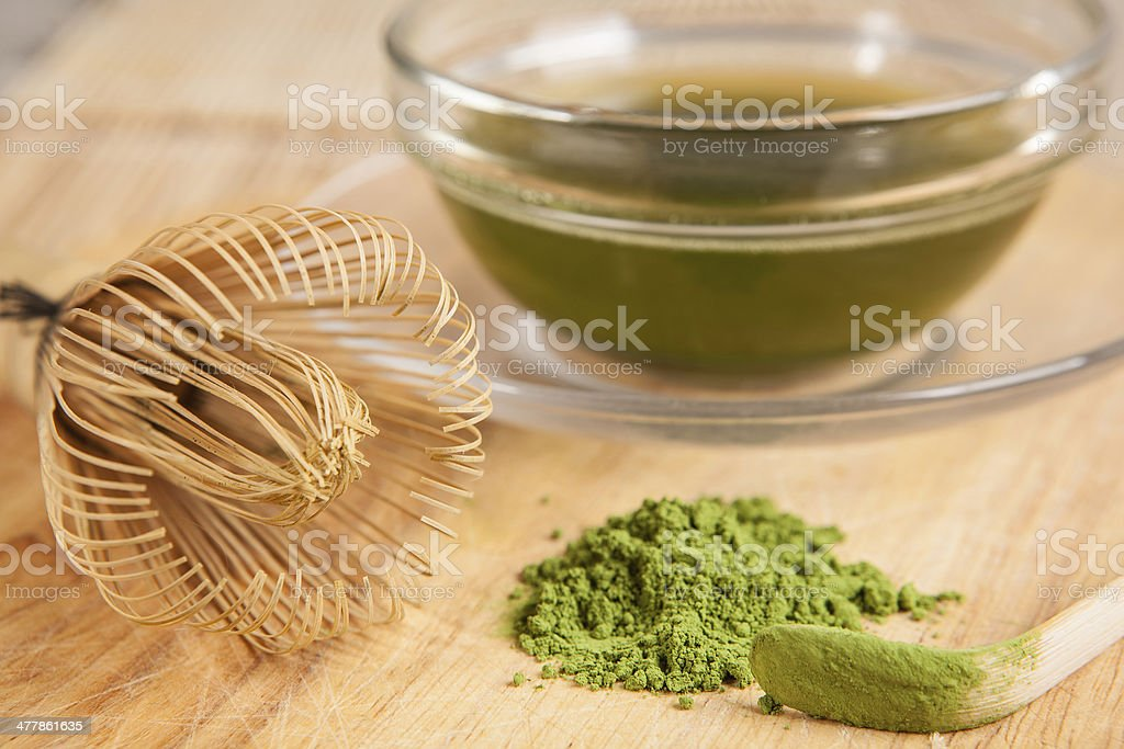powdered green tea and a cup stock photo