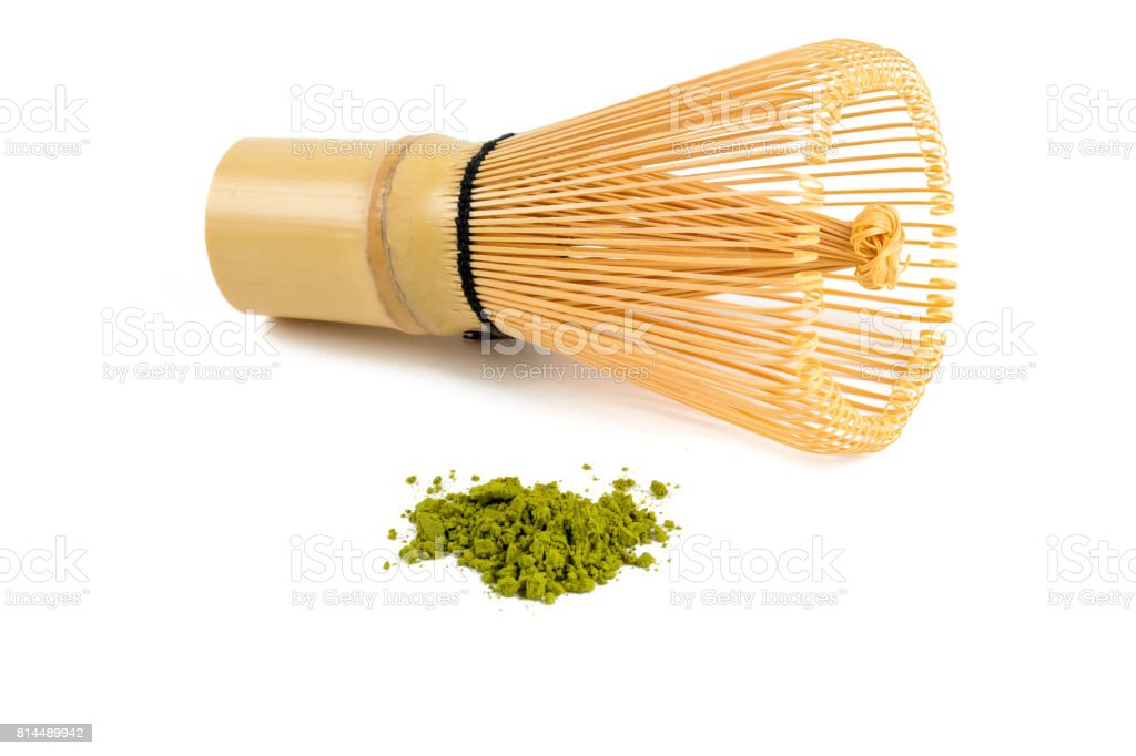 powdered green tea Matcha and bamboo whisk stock photo