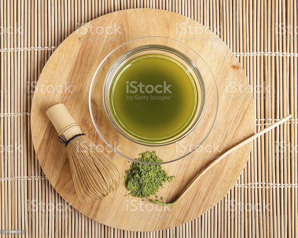 powdered green tea stock photo