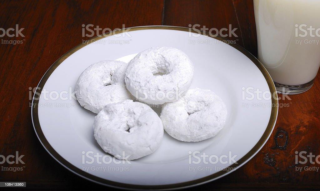 Powdered Sugar Donuts and Milk royalty-free stock photo