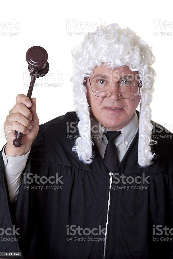 Powdered wig and gavel stock photo