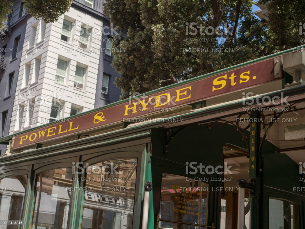 Powell and Hyde street sign on cable car in San Francisco stock photo