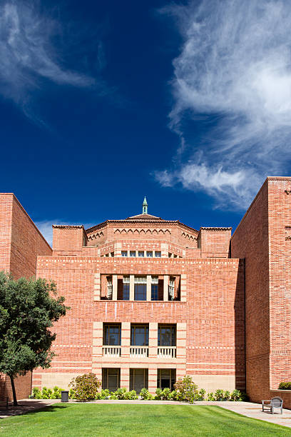 Powell Library on the campus of UCLA. Los Angeles, United States - October 4, 2014: Powell Library on the campus of UCLA. UCLA is a public research university located in the Westwood neighborhood of Los Angeles, California, United States. ucla medical center stock pictures, royalty-free photos & images
