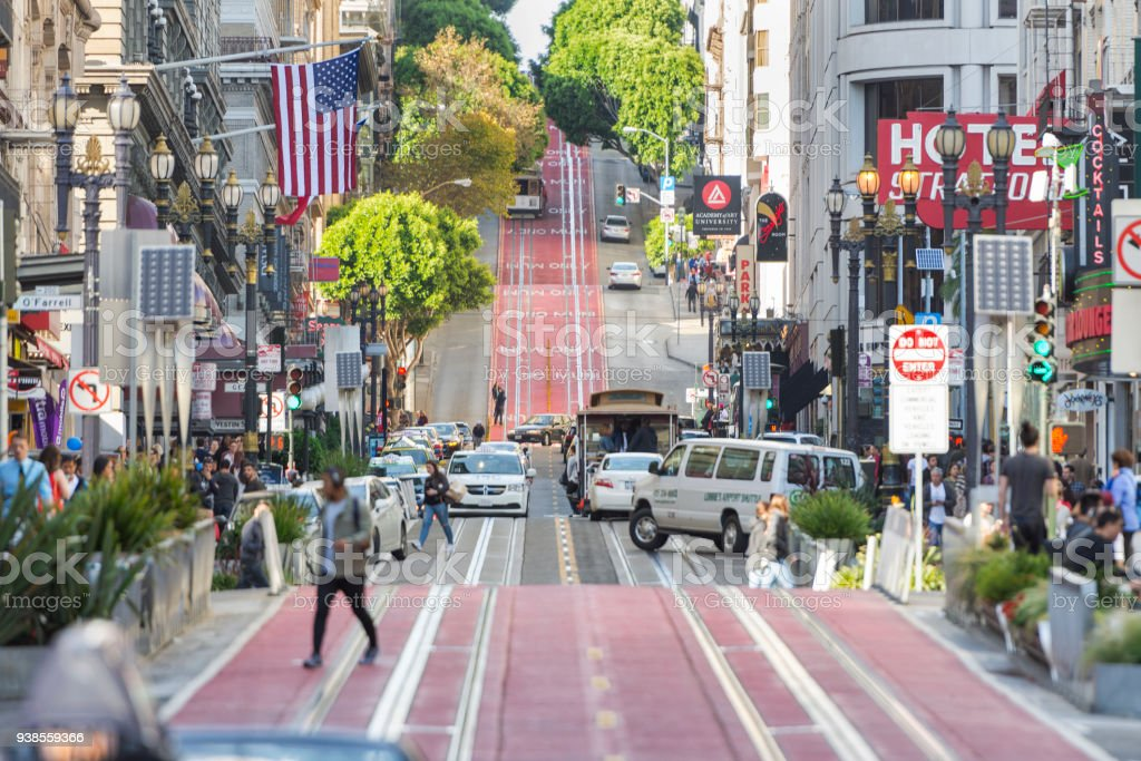 Powell Street downtown San Francisco stock photo