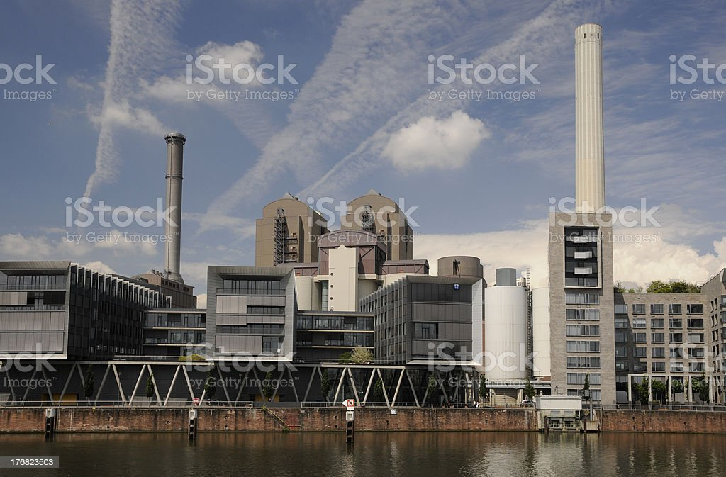 Power and heat supply station in Frankfurt stock photo