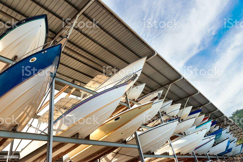 Power boats sheltered parking facility marina in Trinidad stock photo