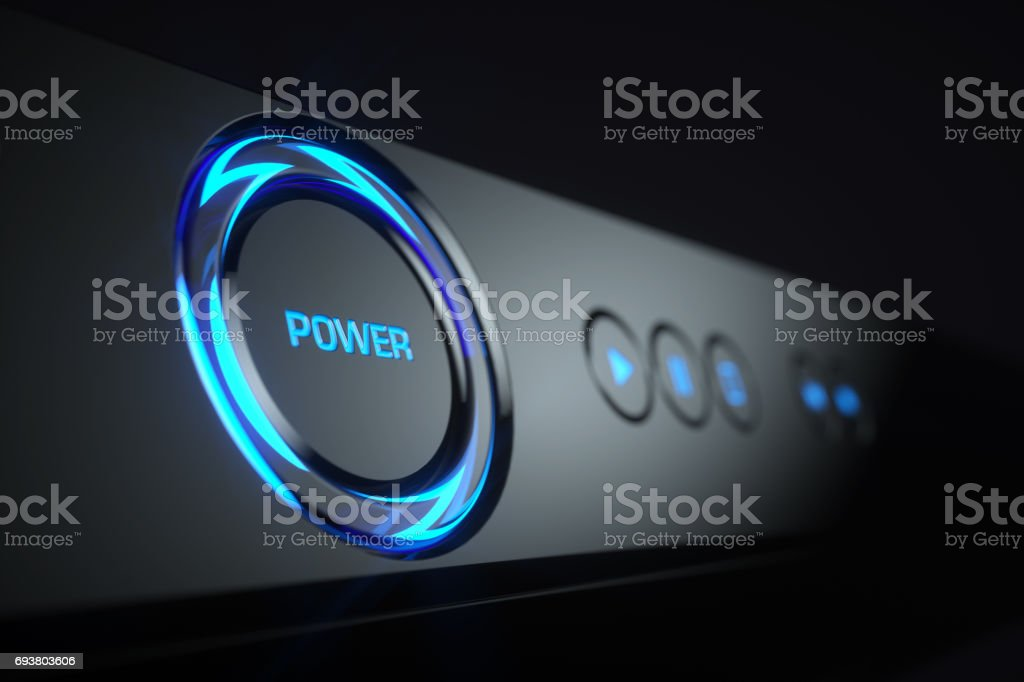 Power button on control panel Blue-ray player stock photo