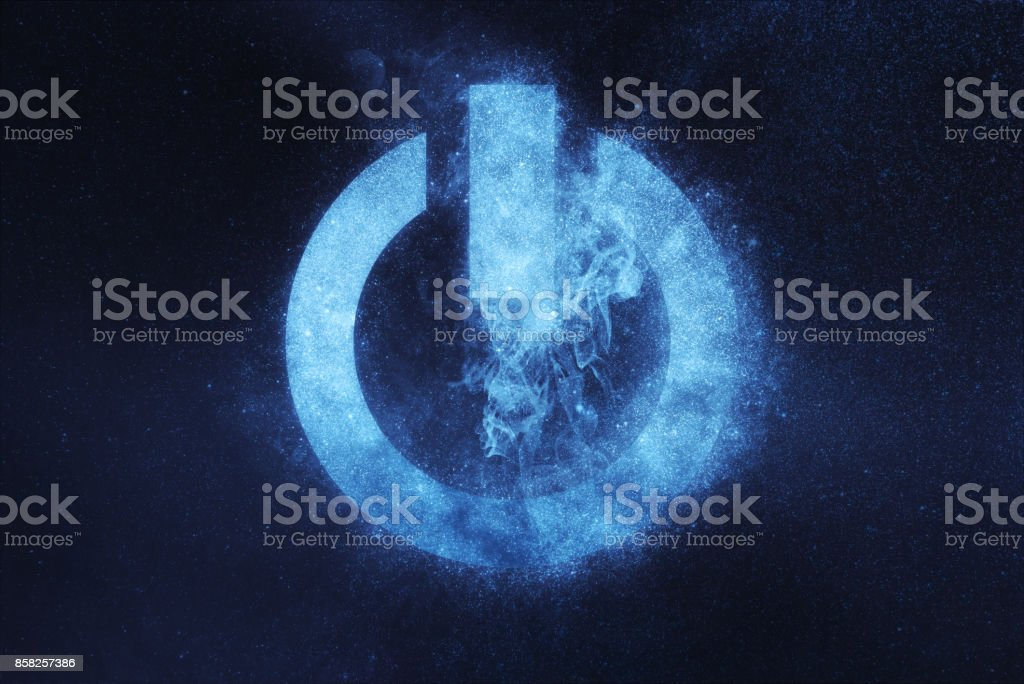 Power button sign, Power Button symbol. Abstract night sky background stock photo