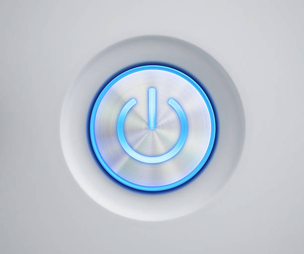 power button with blue glow - button stock photos and pictures