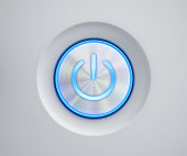Power button with blue glow
