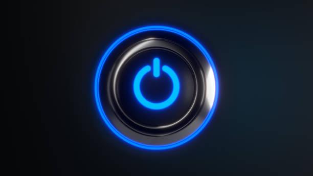 bouton d'alimentation avec des lumières led bleues - commutateur photos et images de collection