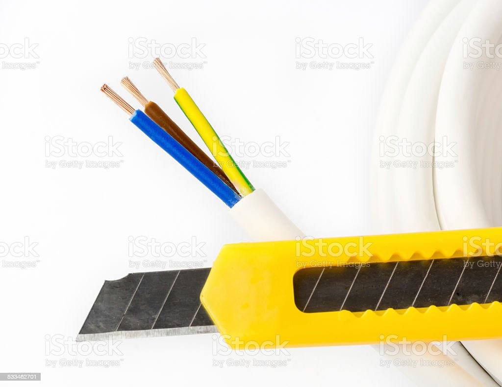 Power cable and knife stock photo