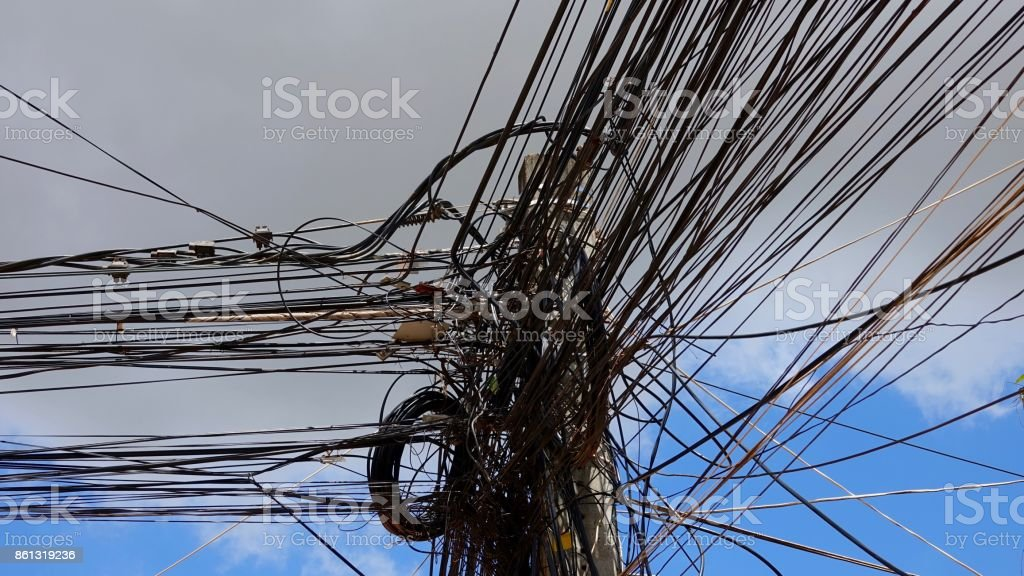 Power cable chaos stock photo