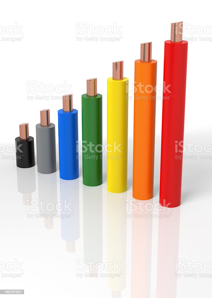 Power Cable Growth Chart stock photo