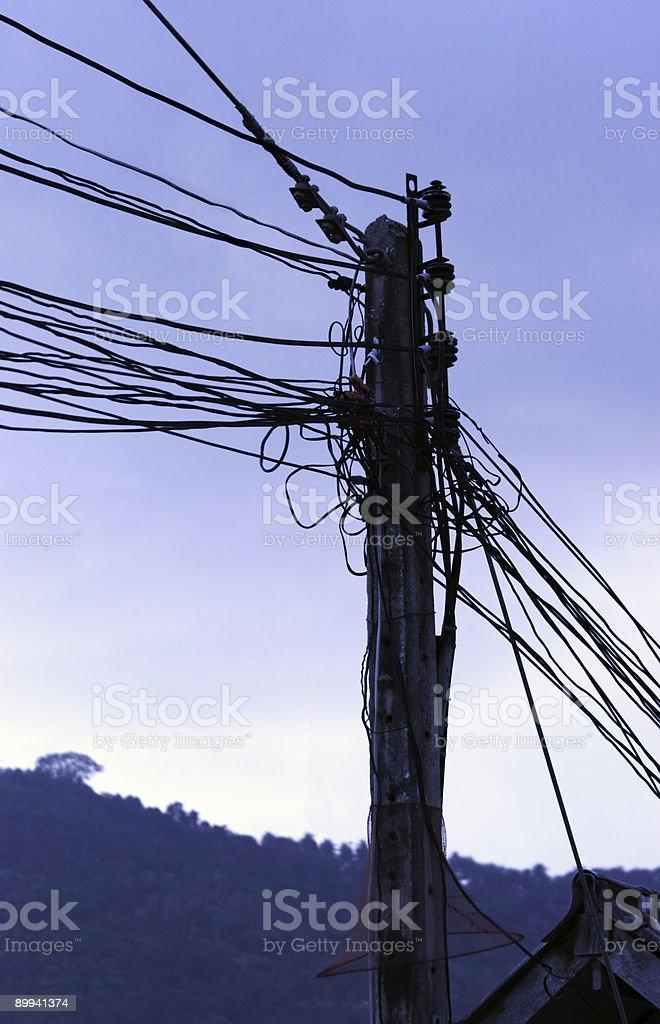 Power cables: Koh Samui, Thailand royalty-free stock photo