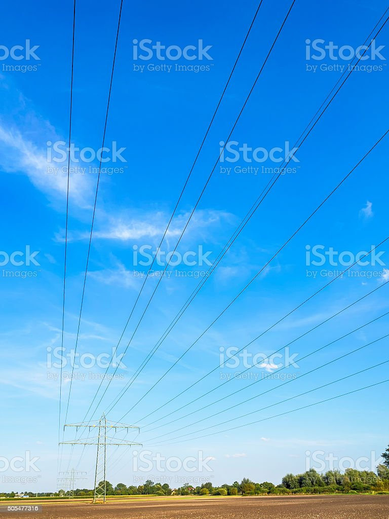 Power calbe and power pole stock photo