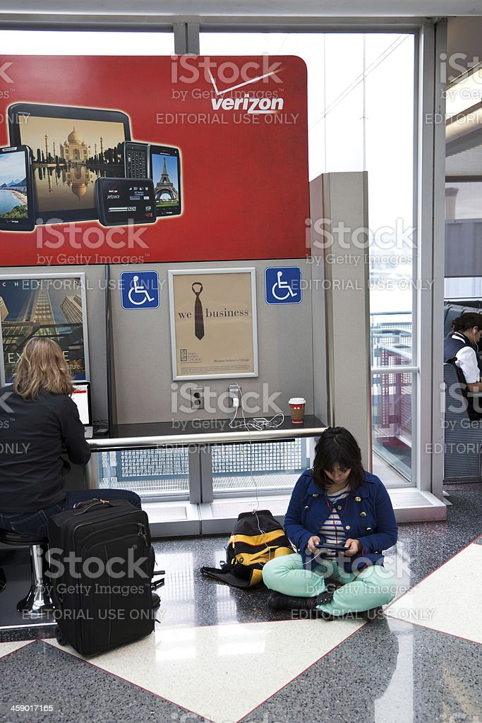 Power charging station at O'Hare Airport in Chicago royalty-free stock photo