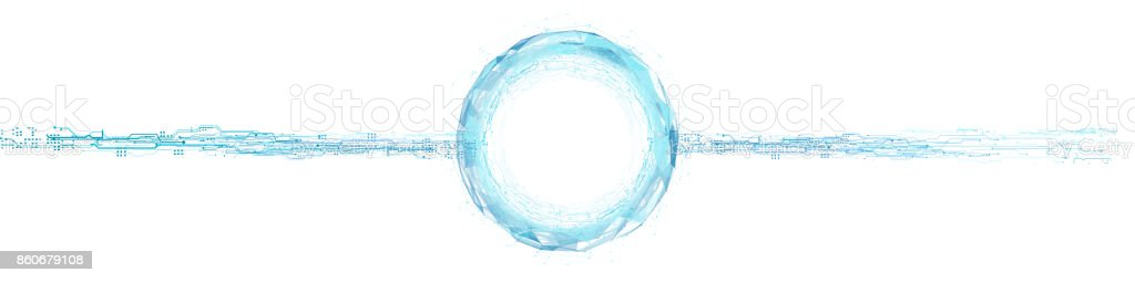 Power Circle Hologram Abstraction of triangles stock photo