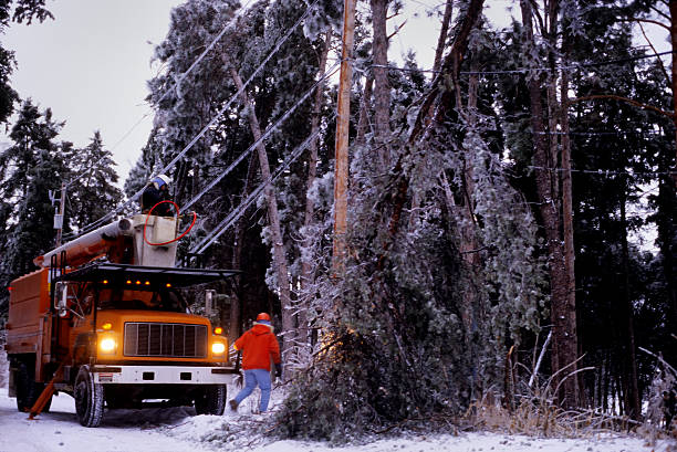 power company winter storm repairs - power in nature stock photos and pictures
