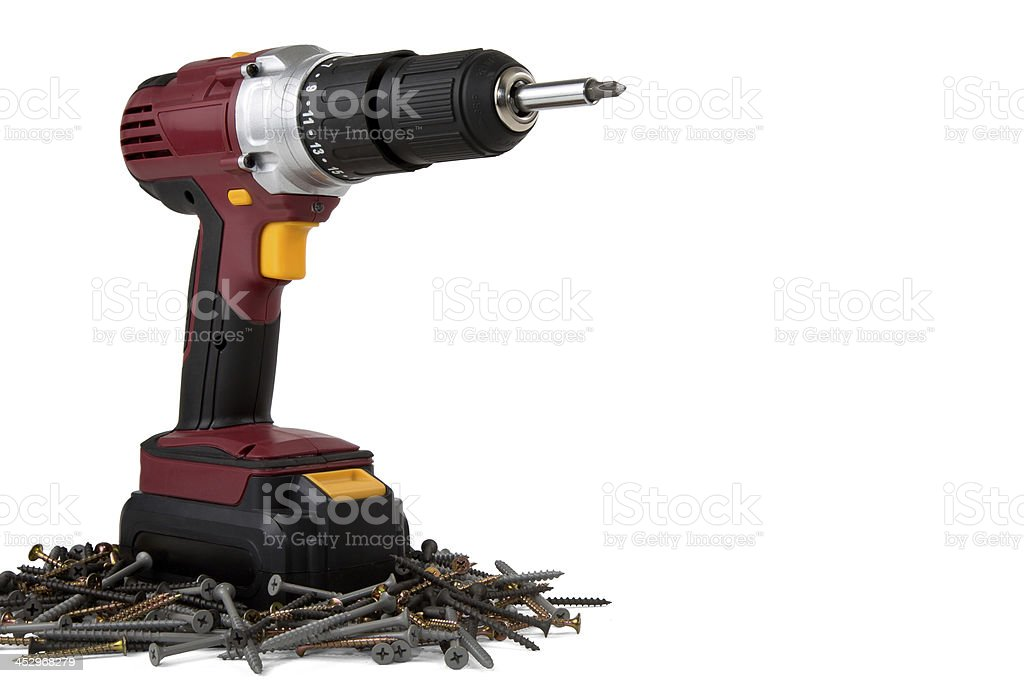 Power Drill and Wood Screws royalty-free stock photo