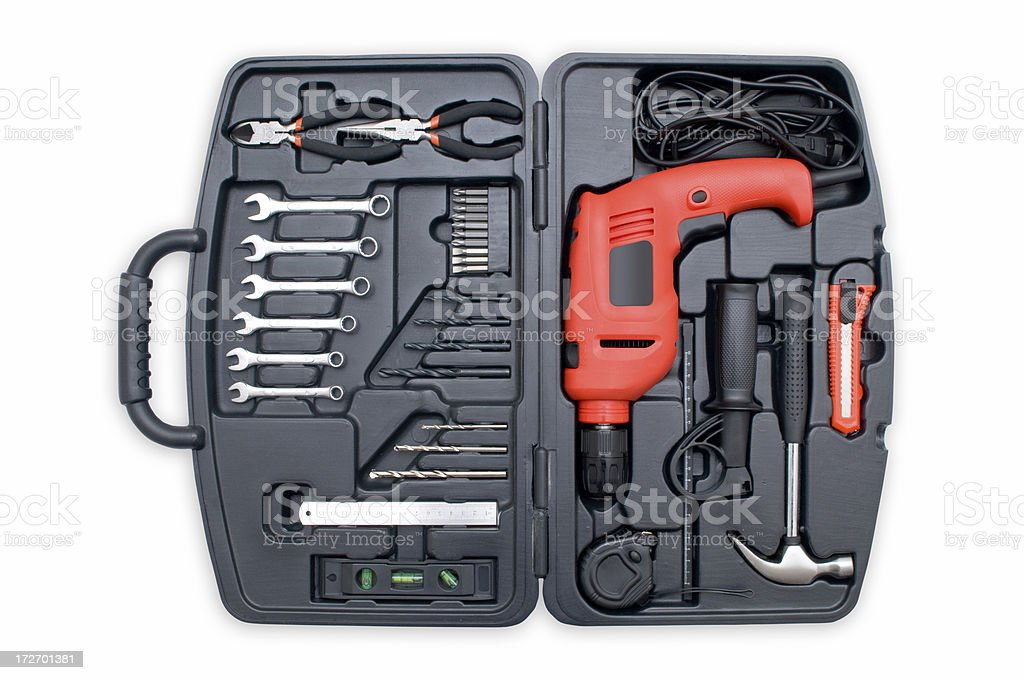 Power drill set on white background royalty-free stock photo