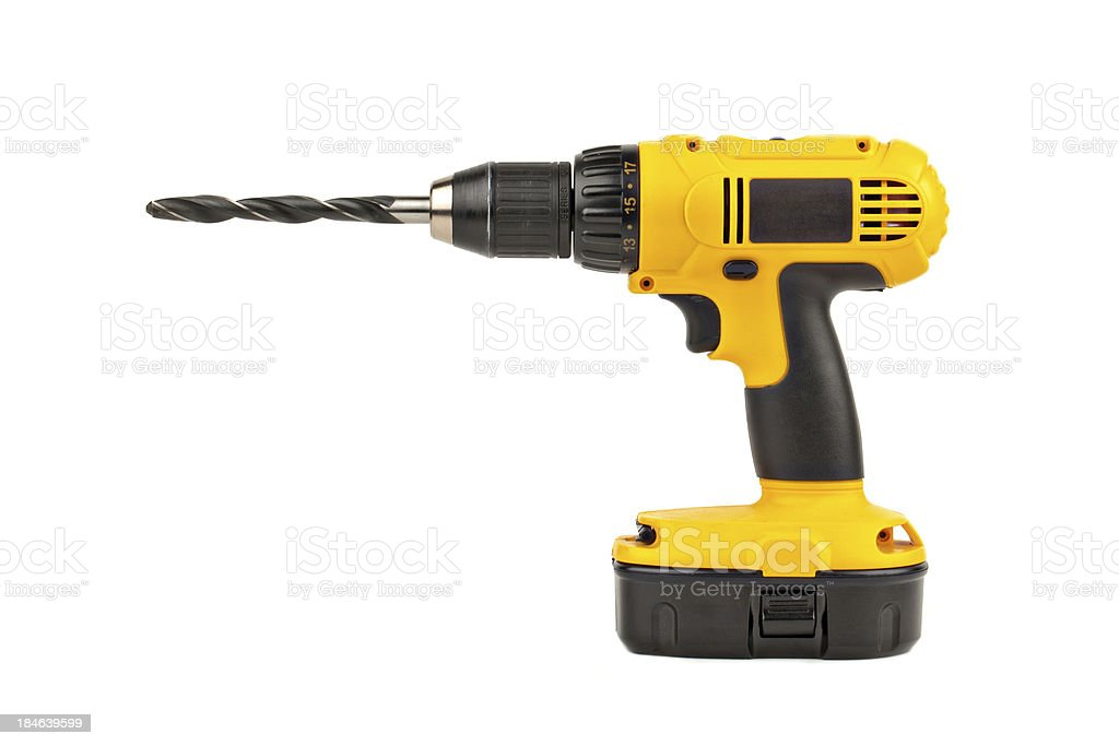 power drill with large bit stock photo